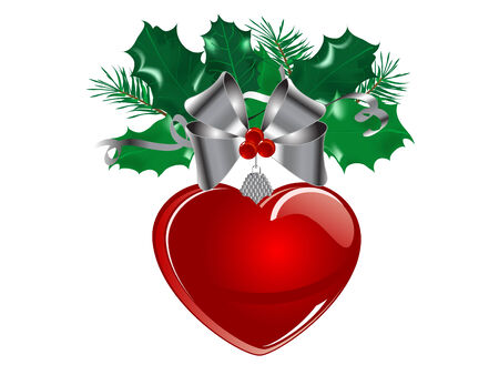 Christmas garland with red glass heart Stock Vector - 8392532