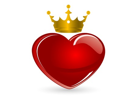 heart with crown: Red glass heart with crown