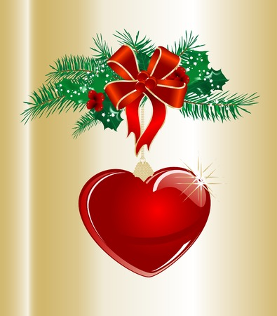Christmas garland with red glass heart Vector