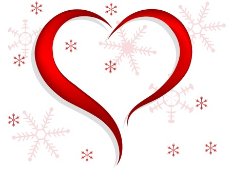 Red heart with snowflakes background