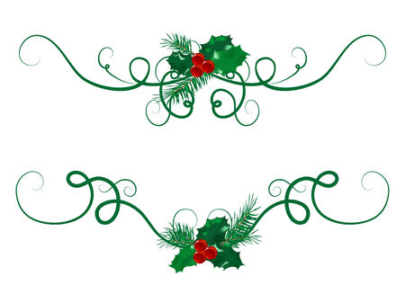 Two christmas garlands with berries Vector