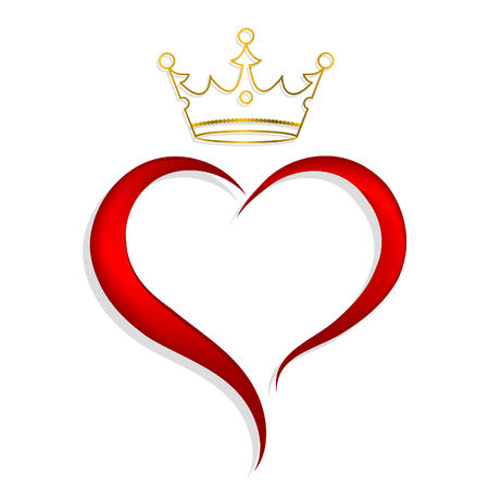 Red heart with golden crown Vector
