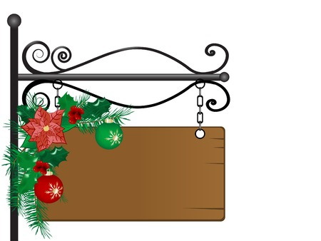 Christmas signboard with garland - vector illustration Vector