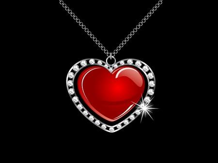 red glittery: Collana in argento con cuore rosso