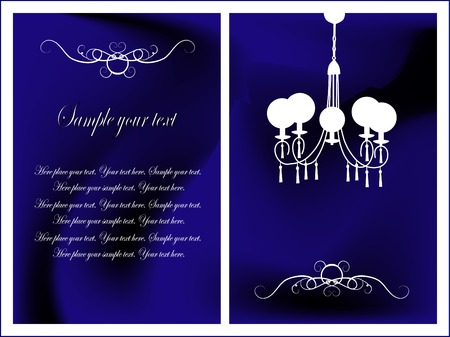 chandelier background: Blue card with antique chandelier