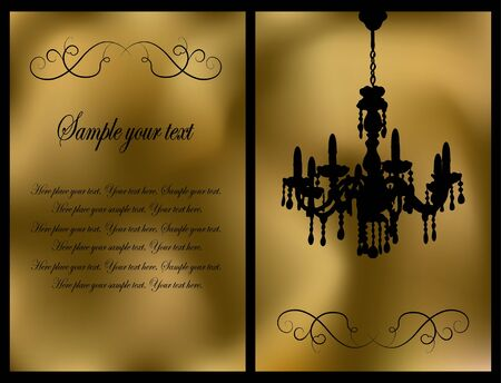 Golden card with antique chandelier Vector