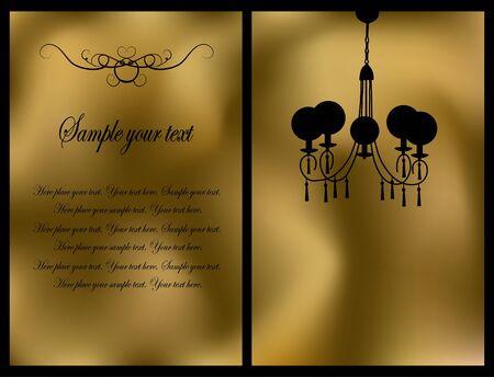 Golden card with antique chandelier Vector