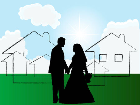 New beginning for wedding couple Stock Vector - 8521511