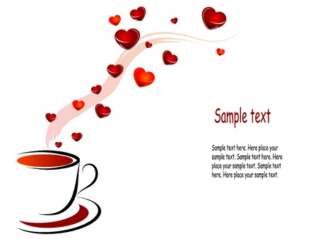 valentine day cup of coffee: Coffee cup with red hearts
