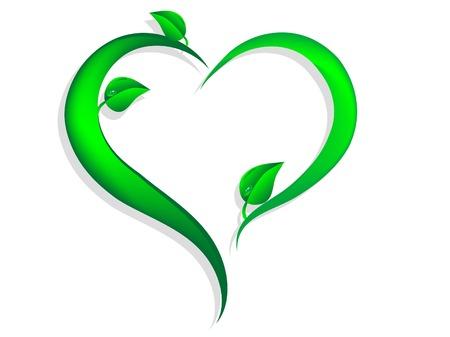 Green floral heart with leaves