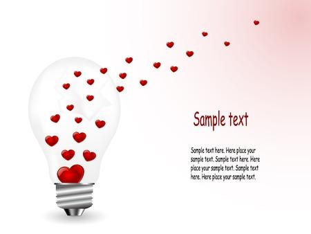 Red hearts in broken lightbulb Vector