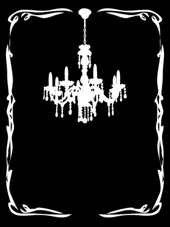 chandelier background: Black card with antique chandelier