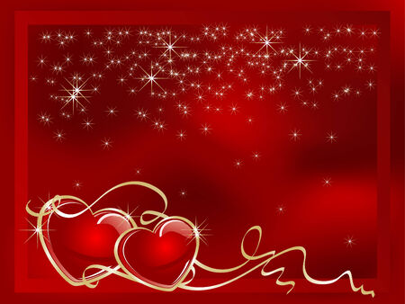 love heart: Two hearts in red frame