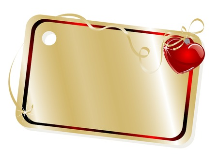 golden heart: Golden name tag with red heart