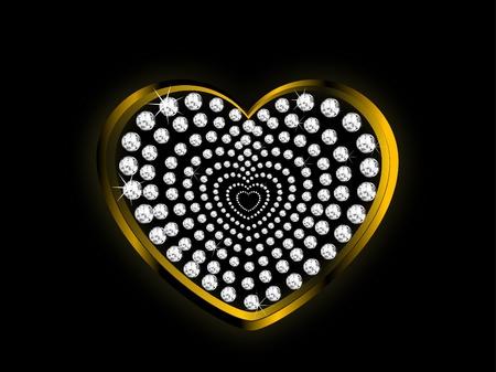 glittery: Golden heart with silver diamonds