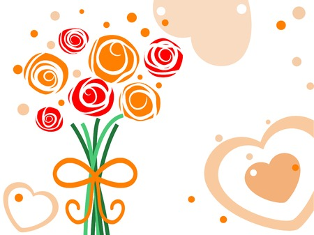 Greetings card with bouquet of roses Vector