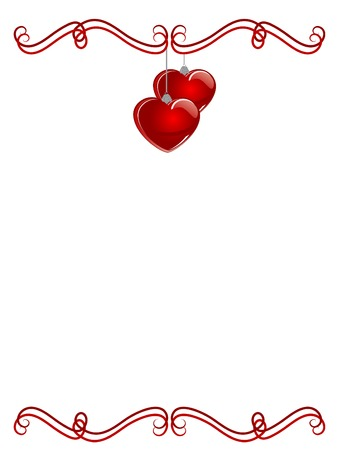 Border with red hearts over white background Vector