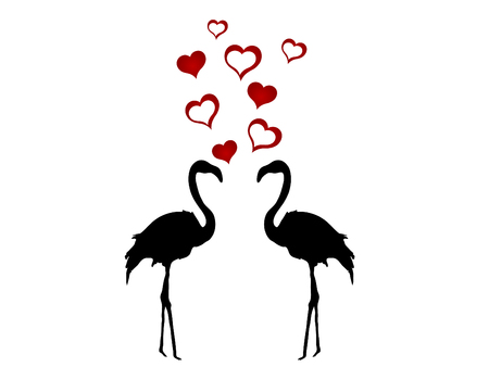Silhouettes of two flamingos in love Vector