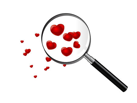 Red hearts under magnifying glass Stock Vector - 8616078