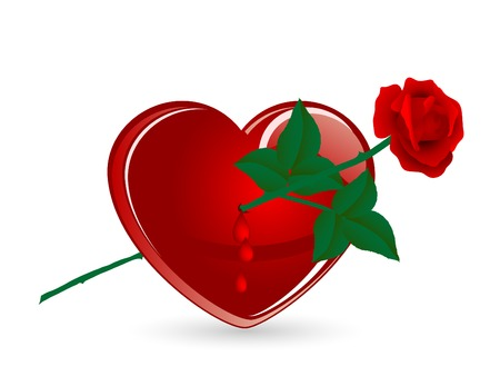 teardrop: Red heart pierced by red rose Illustration