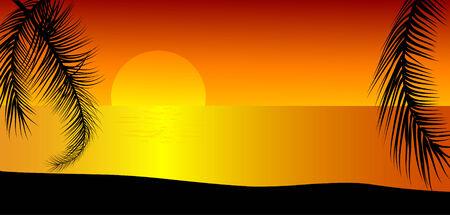 Orange sunset on the beach Vector