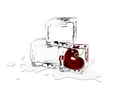 cubos de hielo: Tres de los cubos de hielo, uno con cereza congelado