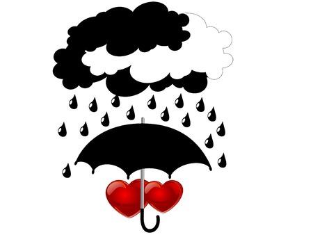 Two red hearts under umbrella Vector