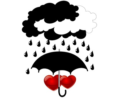 love in rain: Two red hearts under umbrella