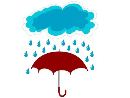 Red umbrella in rain - vector illustration