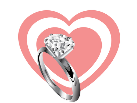 Diamond ring and two rose hearts Vector