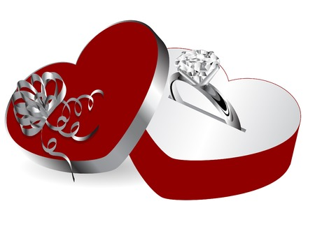 Diamond ring in red box Vector