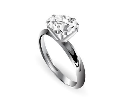 joyas de plata: Anillo de diamantes sobre fondo blanco