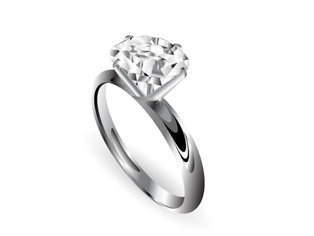 silver ring: Diamond ring over white background