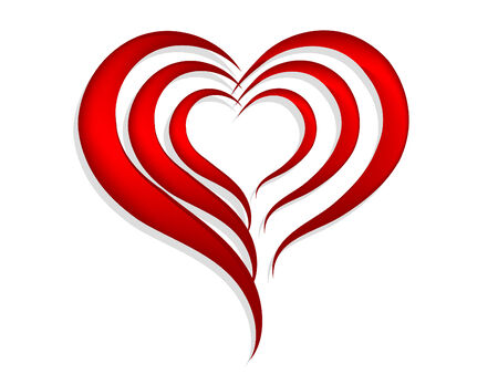 abstract heart: Abstract red hearts over white background Illustration