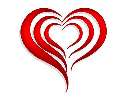 Abstracta corazones rojos sobre fondo blanco Ilustración de vector