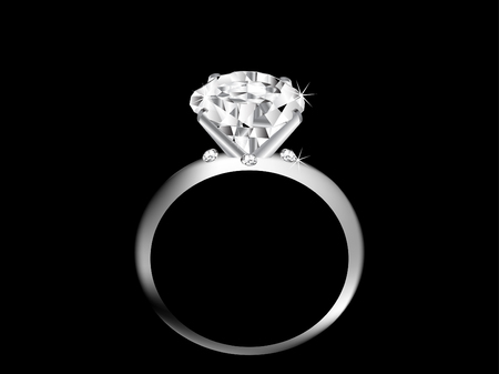 silver ring: Diamond ring over black background