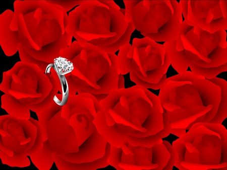 Diamond ring over red background from roses Vector