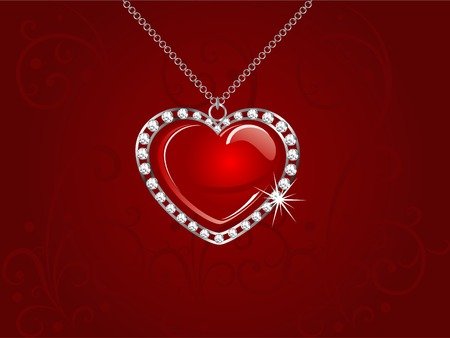 Silver necklace with red heart Vector