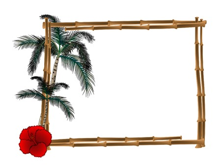 Frame from bamboo with two palm trees Vector