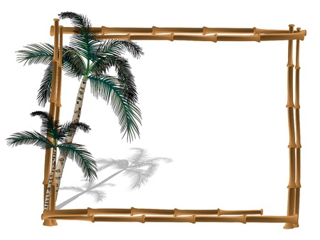 bamboo border: Frame from bamboo with two palm trees