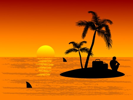 Lonely man on tropical island Vector