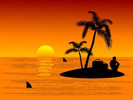 Lonely man op het tropische eiland Vector Illustratie