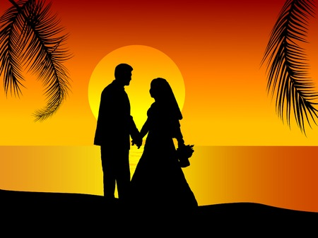 Silhouette of wedding couple on the seaside Vector
