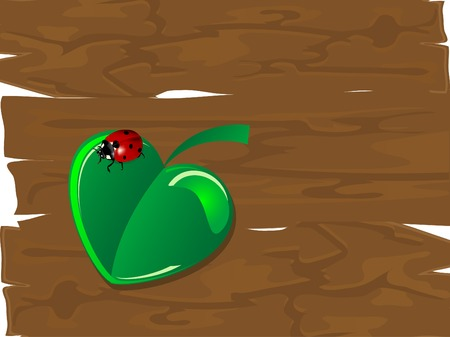 Heart leaf and the ladybug Vector