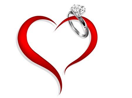 ダイヤの指輪と抽象的な赤いハート