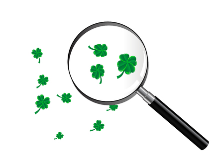 Green clover under magnifying glass Stock Vector - 8838637
