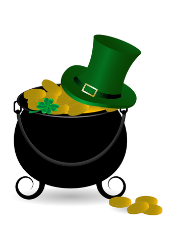 St.Patrick's cauldron with golden money Stock Vector - 8838718