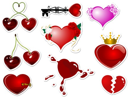 yellow crown: Collection of hearts and valentines stickers Illustration