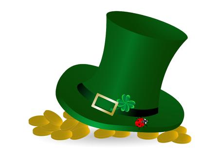 Green St.Patricks hat with golden money Vector