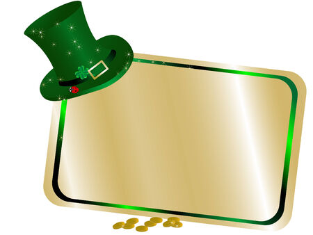 Golden name tag with green hat Vector